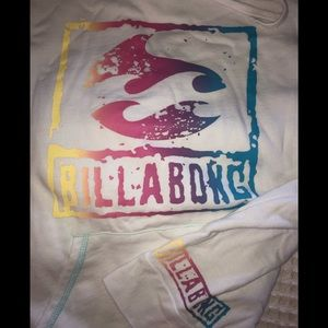 Billabong White Hoodie Colorful Splashes Logo M